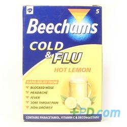 Beechams Cold & Flu Hot Lemon 5 Sachets